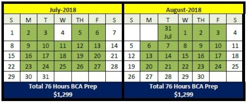 BCA CALENDER SUMMER 2018