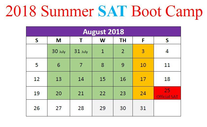 August 2018 Summer Boot Camp